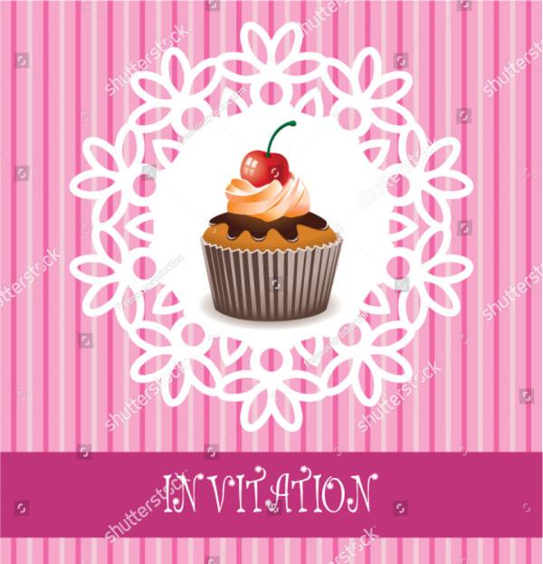 Retro Invitation Card with Chocolate Cupcake