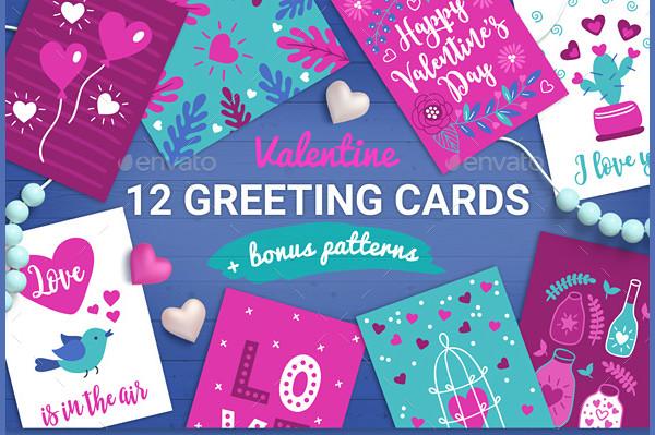 12 Valentine Cards Seamless Patterns