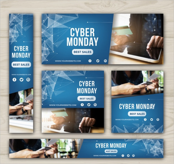 Abstract Cyber Monday Technology Banners Free