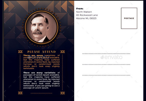 Art Deco Funeral Invitations