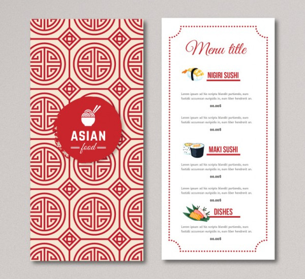 Asian Food Menu Free Download