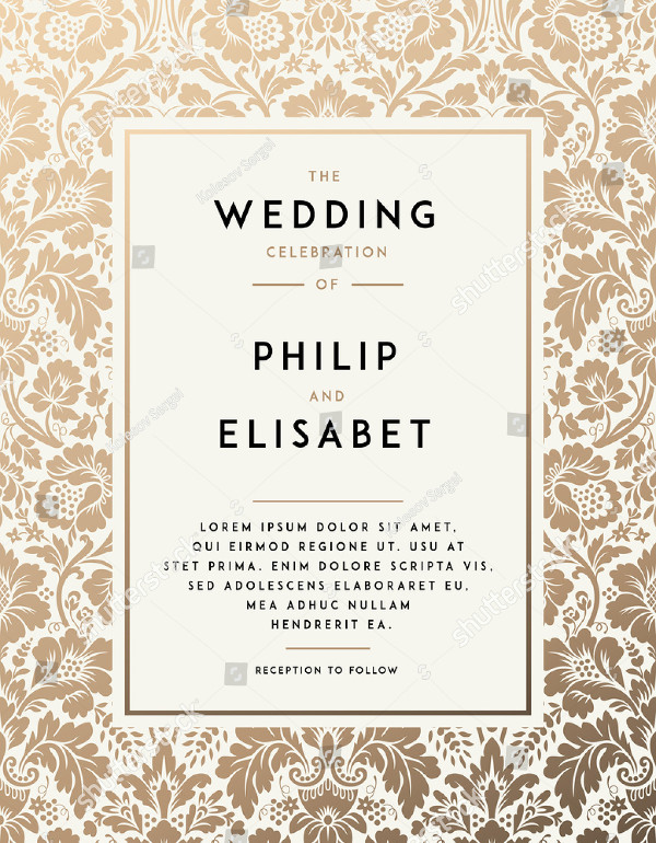 Gold Wedding Invitation Template in Modern Design