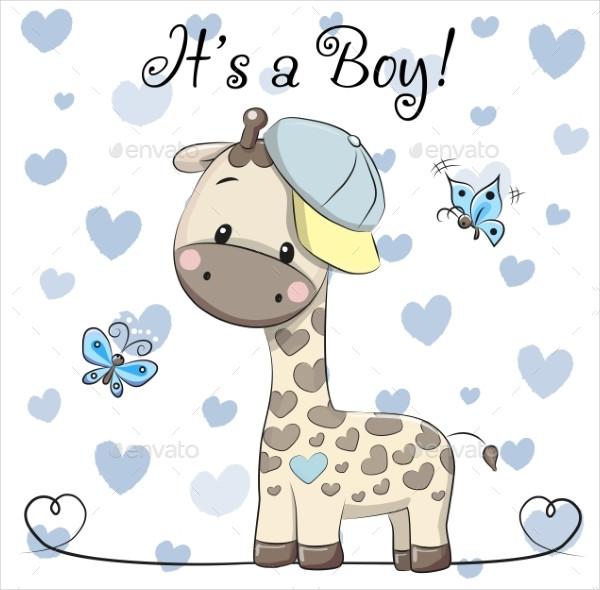 Cartoon Baby Shower Greeting Card Design
