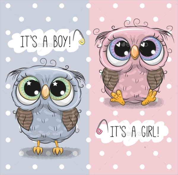 Baby Shower Greeting Card with Owls