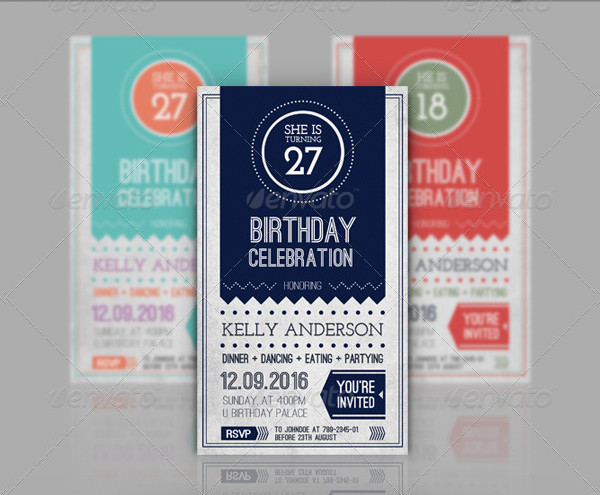 Birthday Retro Vintage Invitation