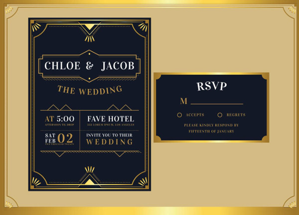 Black Gold Art Deco Wedding Invitation Template Free Download