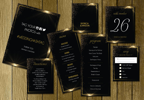 Black Gold Wedding Invitations Suite