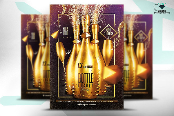 Bottle Luxury Flyer PSD Design Template