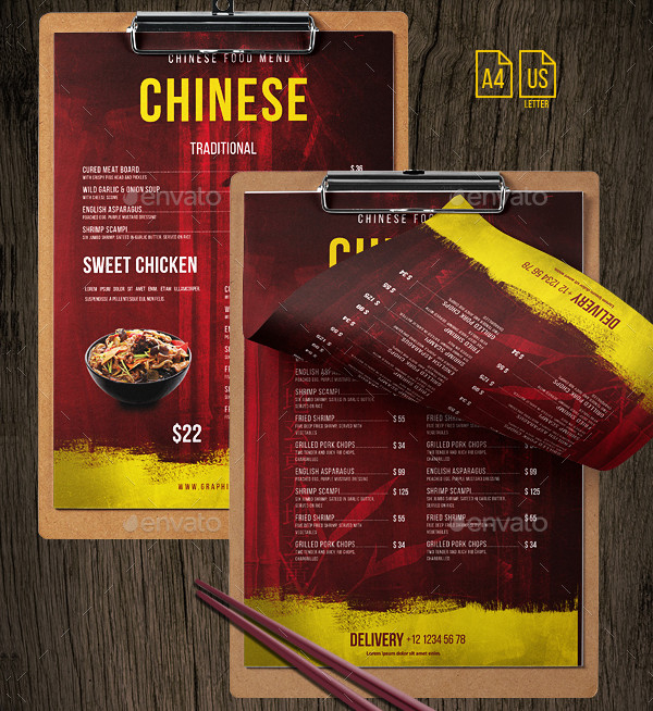 Printable Chinese Menu PSD Templates Bundle