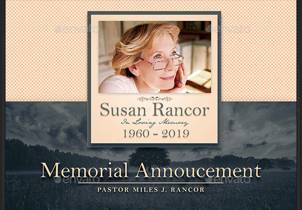 Classic Funeral Announcement Design
