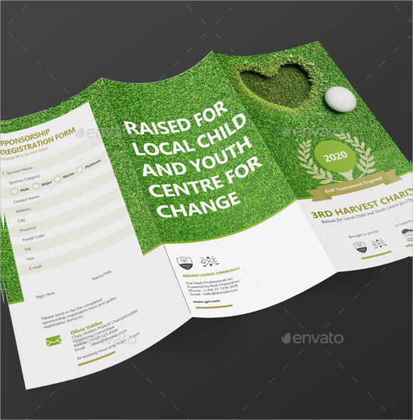 Clean Trifold Golf Tournament Brochure
