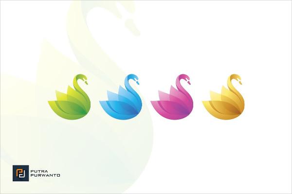 Colorful Swan Logo Design
