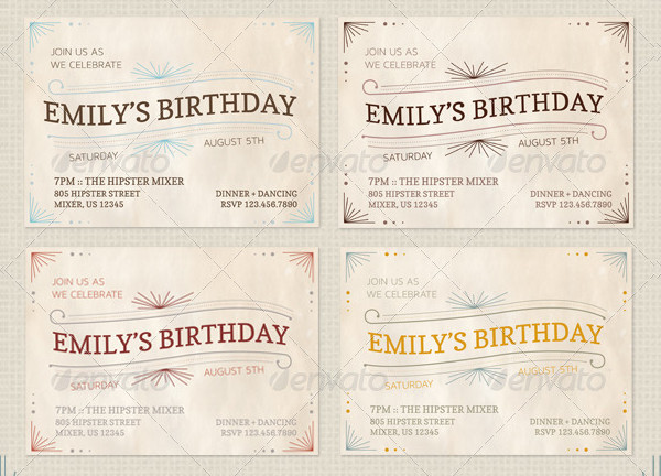 Pack of Colorful Vintage Invitations