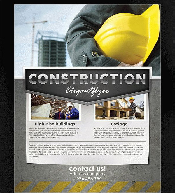 Construction Contractor Free PSD Flyer Template