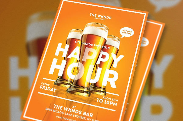 Cool Happy Hour Flyer Template