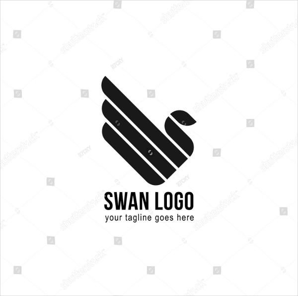 Cool Swan Logo Line
