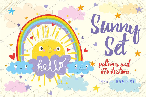 Cute Sun and Cloud & Illustrations