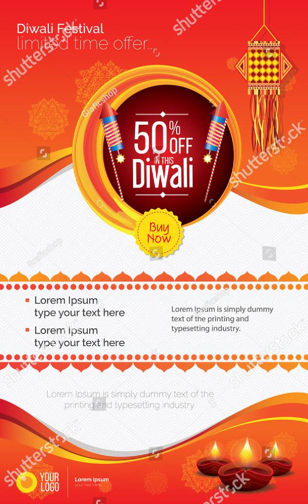 Diwali Festival Offer Poster Design Template