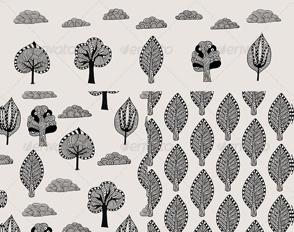 Doodle Trees and Clouds Pattern