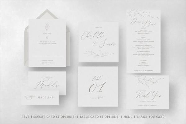 Elegant Floral Wedding Invitations Suite