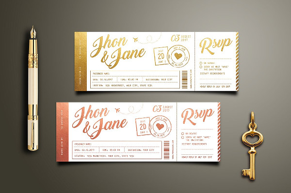 Elegant Wedding Invitation Ticket