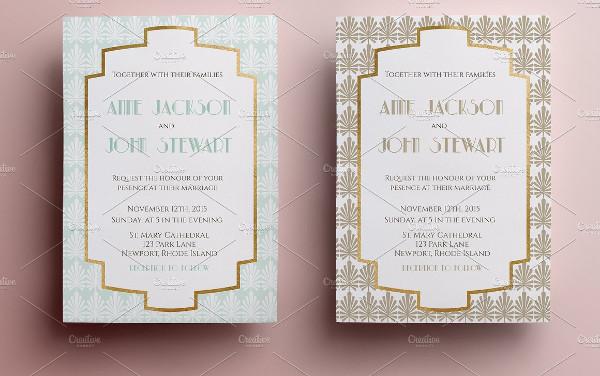 Elegant Art Deco Inspired Wedding Invitation