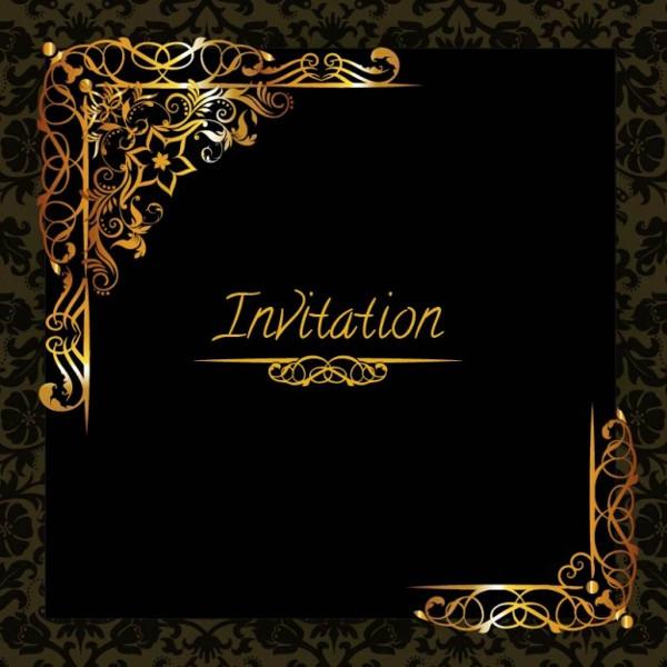 Elegant Golden Design Invitation Free