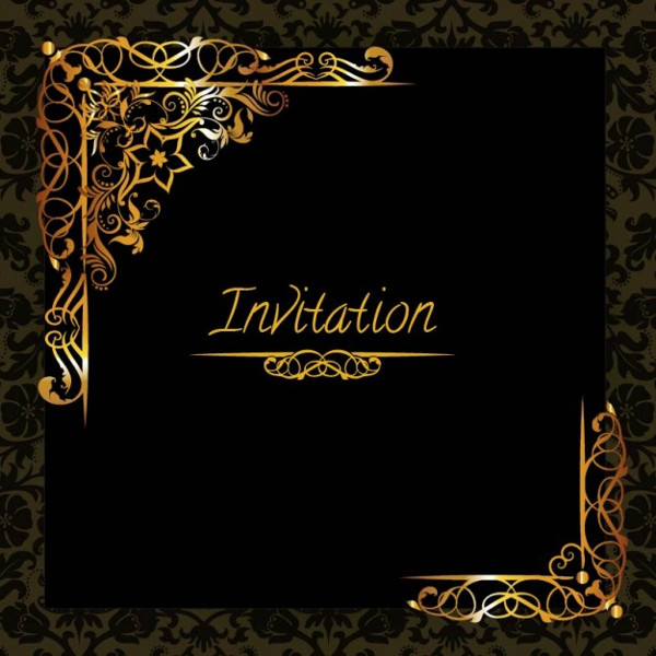 Elegant Golden Design Invitation Free Download