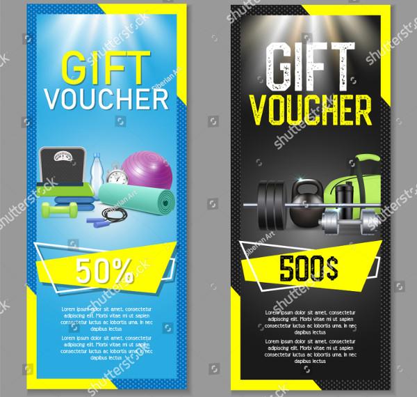 Fitness Gift Voucher Template Set Vector