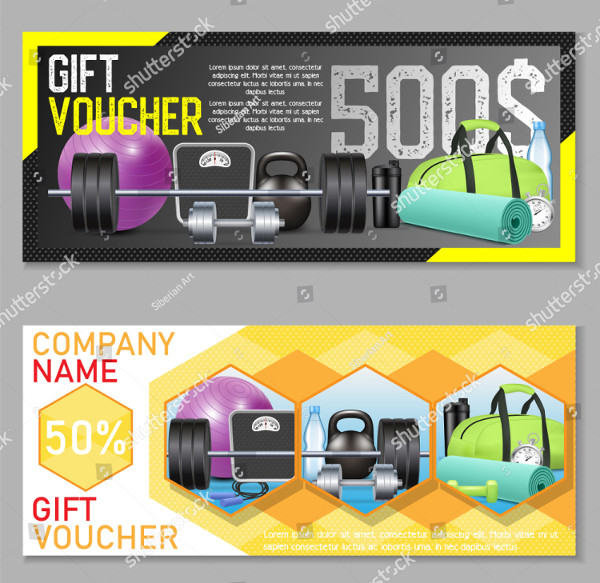 Fitness Gift Voucher Vector Set