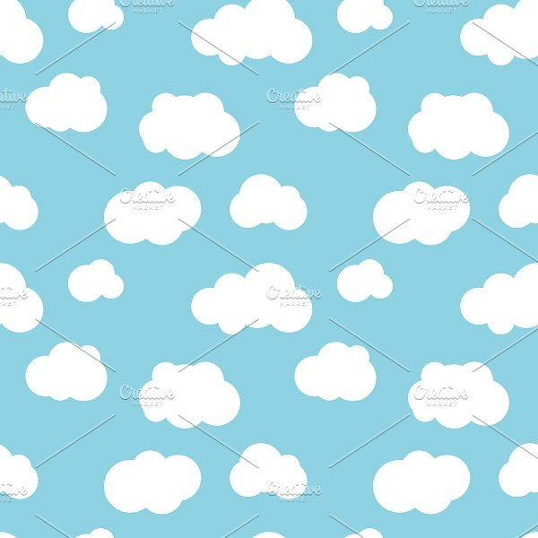 Flat Clouds on Blue Sky Pattern