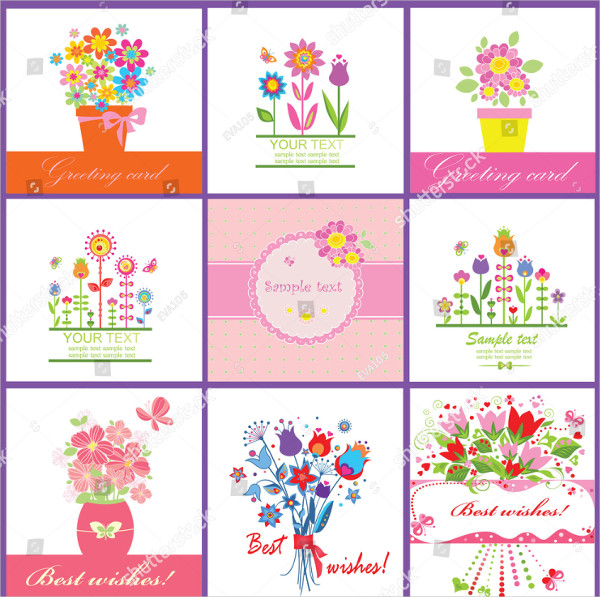 Floral Baby Greeting Card Templates
