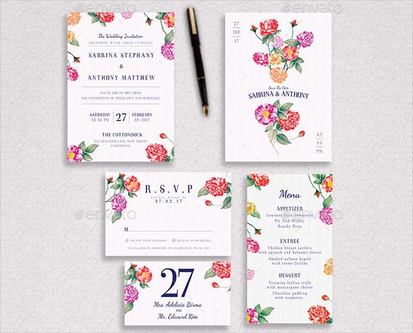 Floral Elegant Wedding Invitation Package