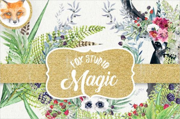 Forest Deer Watercolor Clipart Digital Greeting Card