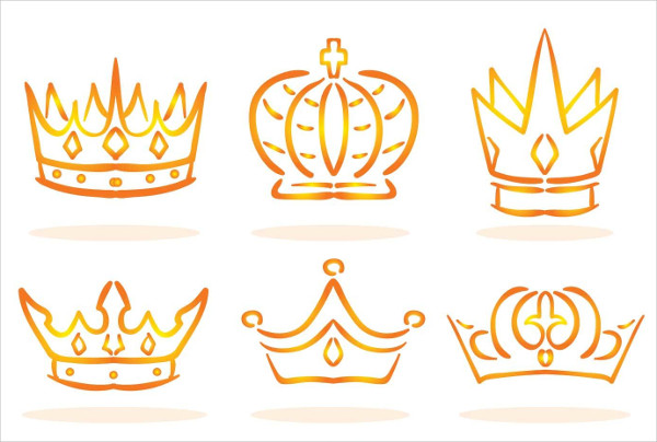 Free Golden Linear Crown Logo Vectors