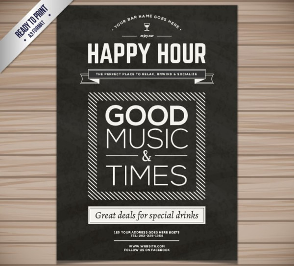Free Happy Hour Poster or Flyer Template