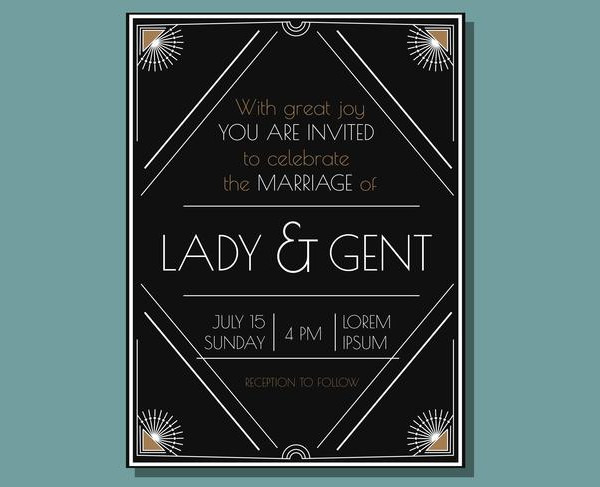 Free Vintage Deco Wedding Invitation