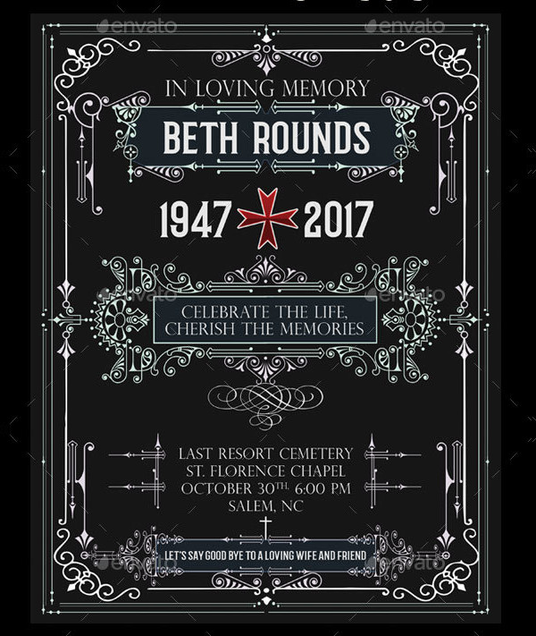 Funeral Invitation Template in 3 Versions