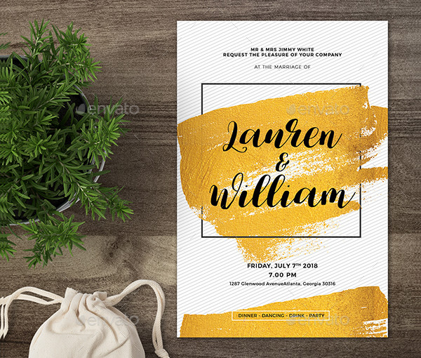 Gold Engagement Invitation