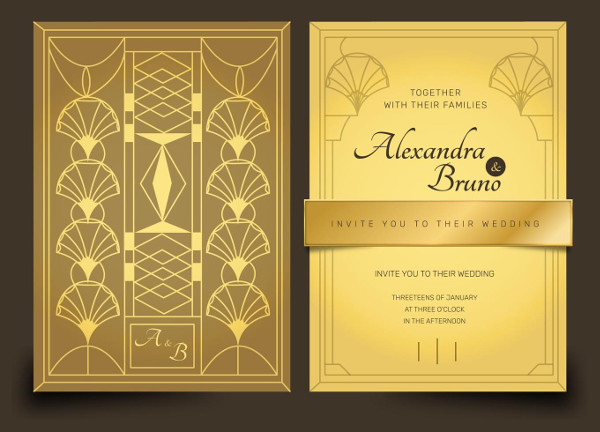 Gold Luxury Art Deco Wedding Invitation Vector Templates Pack Free