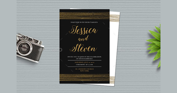 Classic Gold Wedding Invitations Design