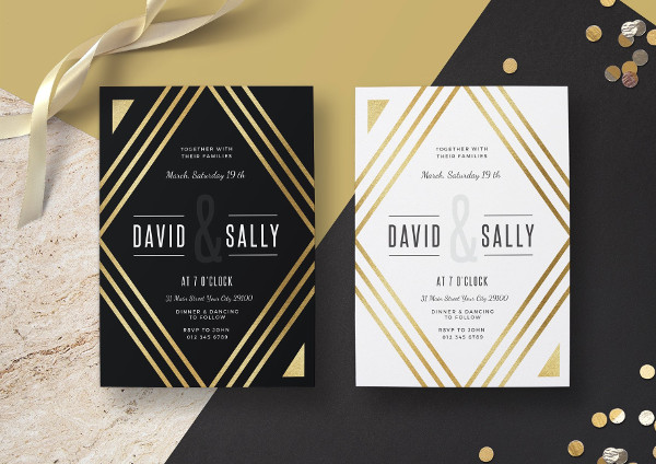 Editable Gold Wedding Invitation