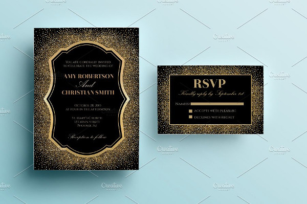 Printable Gold Glitter Wedding Invitation