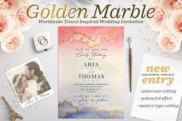 Golden Marble Wedding Invitation