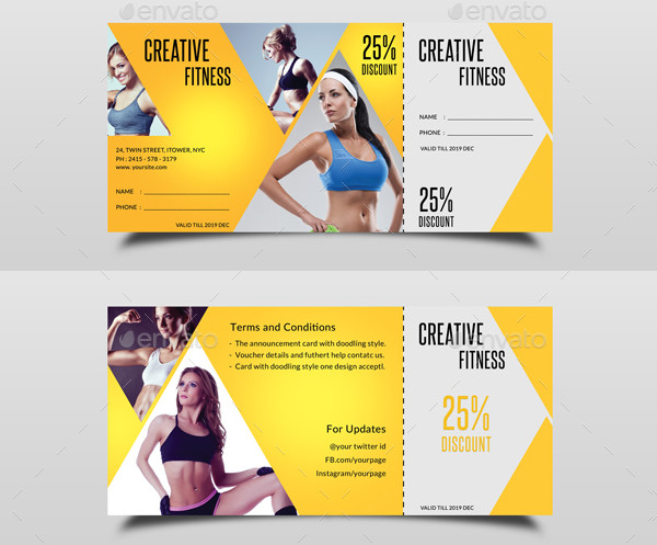 Creative Gym Fitness Voucher Design