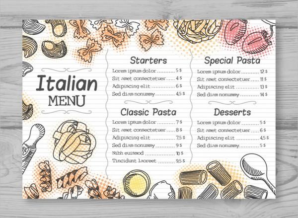 Hand Drawn Elegant Italian Menu Free Download