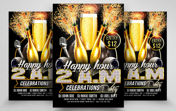Beautiful Happy Hour PSD Flyer Template