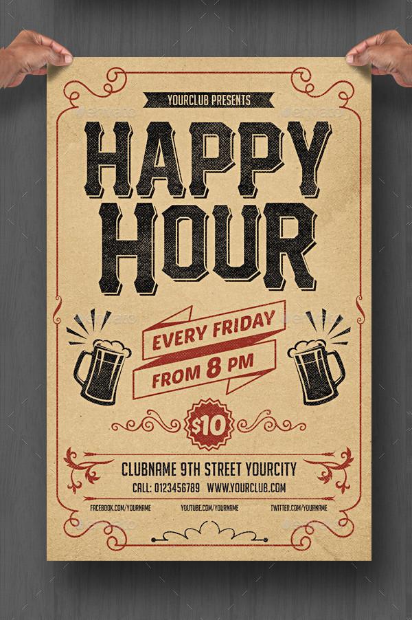 Happy Hour Retro Flyer