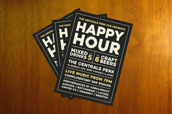Happy Hour Typhography Flyer