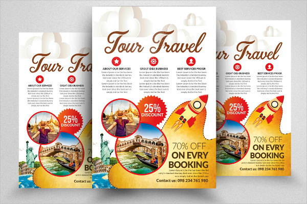 Holiday Tour or Travel Advertisement Flyers Templates
